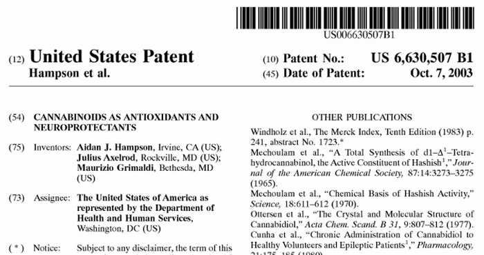 the u.s. government holds a patent on CBD
