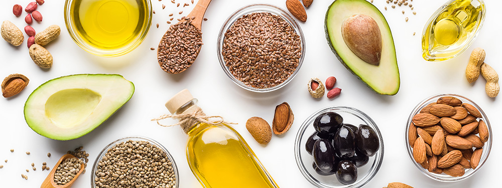 Hemp oil, fresh fruit, and other cooking items. Use natural supplements for anxiety management.