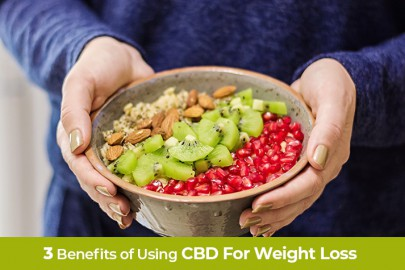 Mom Holding Healthy fruit and granola cereal. Three benefits of using CBD for weight loss management.